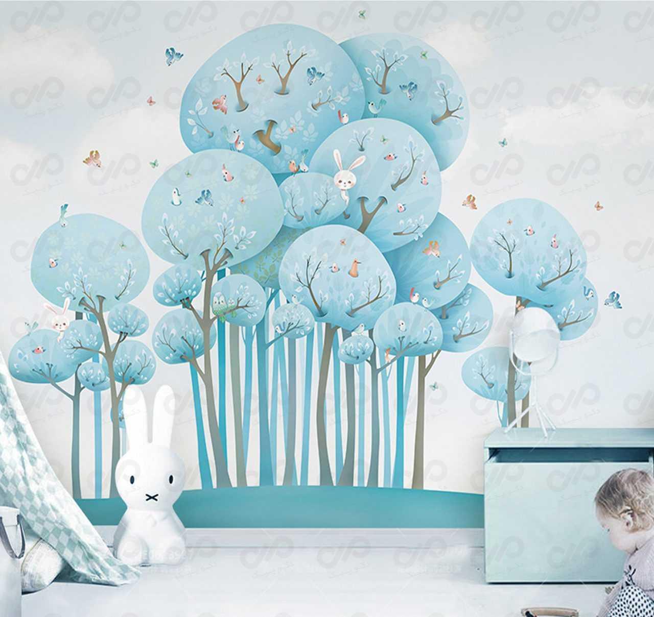 پوستر دیواری سه بعدی لوکس 022 طرح اتاق کودک نمای استفاده شده استفاده شده در اتاق کودک طرح زمستانی